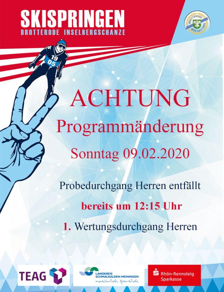 Programmänderung Sonntag
